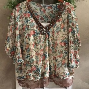 Vintage Boho look top with cami size L